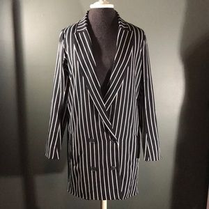 Boohoo Long Line Striped Tuxedo Jacket